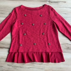 Maison Jules Embellished Sweater Pink Large